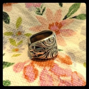 Danish Queen Spoon Ring Sterling Silver Plated
